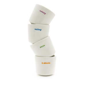 Keith Brymer Jones Set of 4 Egg Cups - wakey wakey rise & shine